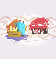 Summer vacation luggage sea travel retro banner vector