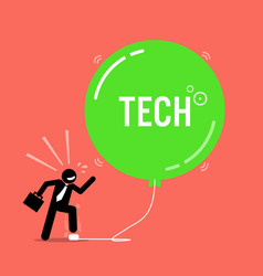 Tech bubble in stock market artwork depicts a vector