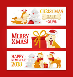 three new year 2018 and christmas horizontal vector image