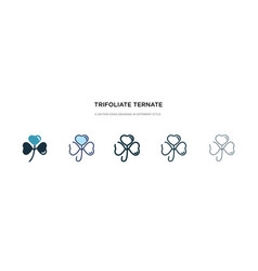 trifoliate ternate icon in different style two vector image