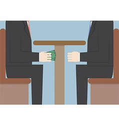 Two Businessmen Passing Money Under the Table Bri vector image