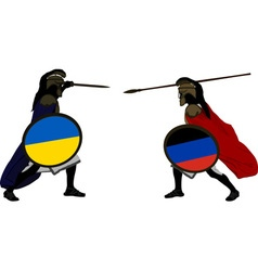 Ukrainian and pro Russian warriors vector