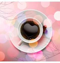 White coffee cup with heart shape made of foam on vector image