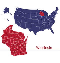 wisconsin map counties with usa map vector image