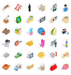 Woman shoe icons set isometric style vector