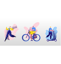 young people sport activity set man riding vector image