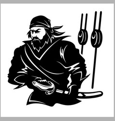 attacking pirate - black and white vector image