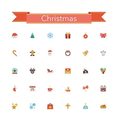 Christmas Flat Icons vector image