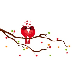 Love Birds on Tree Branch vector image vector image