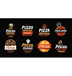 Pizza logo label element Pizzeria restaurant vector image