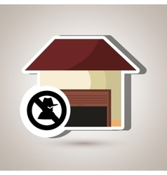 smart home with theft isolated icon design vector image