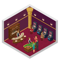casino isometric interior vector image vector image