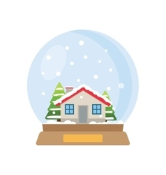 Christmas snow globe with house and trees inside vector image