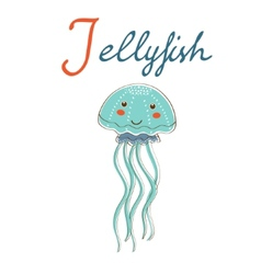 J is for Jellyfish format vector image