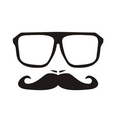 Men face with mustache and black hipster glasses vector image