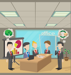 People in a meeting concept cartoon style vector