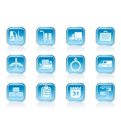 shipping and transportation icons vector image vector image