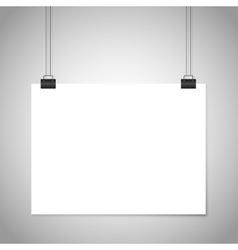 White blank paper hanging sign mockup vector image