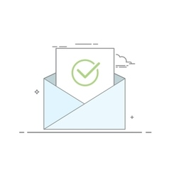 Concept icon open an email with a sheet of paper vector image vector image