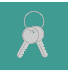 Door keys with ring Flat design style vector image