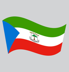 flag of equatorial guinea waving gray background vector image