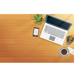 top view office wooden desk in morning vector image vector image