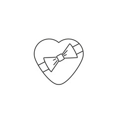 valentine heart with bow tie icon vector image
