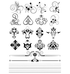Collection of ornaments and brushes for design vector image vector image