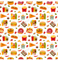 fast food and streetfood seamless pattern vector image