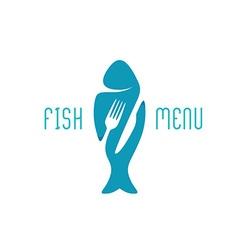 Fish food restaurant menu title logo Silhouette of vector image vector image