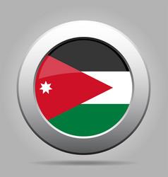 flag of jordan shiny metal gray round button vector image vector image