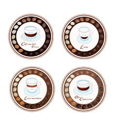 Four Kind of Coffee Beverage in Retro Round Label vector image vector image