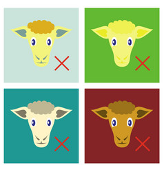 Set of flat sheep to fall asleep vector