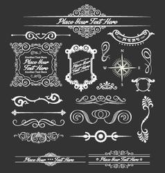 Vintage floral decorative border and lines element vector image vector image