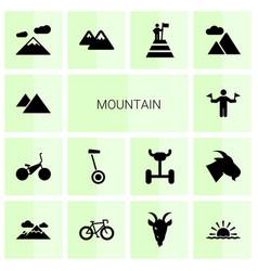 14 mountain icons vector