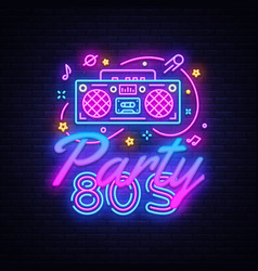 80s party neon sign back to neon vector