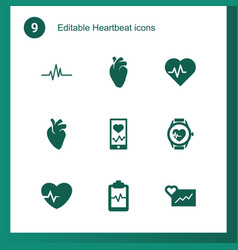 9 heartbeat icons vector