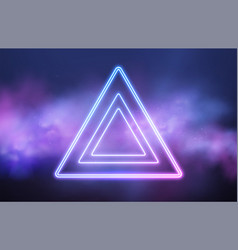 Abstract triangle neon frame on pink smoke vector