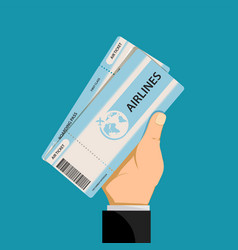 air ticket in hand a man vector image