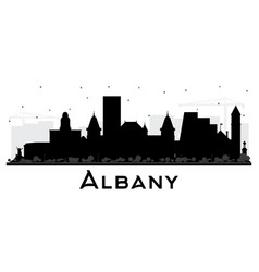 albany new york city skyline silhouette with vector image