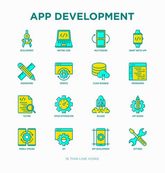 App development thin line icons set vector