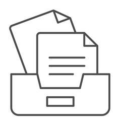 Archive box with papers thin line icon drawers vector