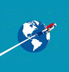 Astronaut robot over planet earth concept vector