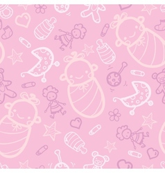 Baby girl pink seamless pattern background vector