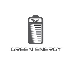 Battery with leaves vector