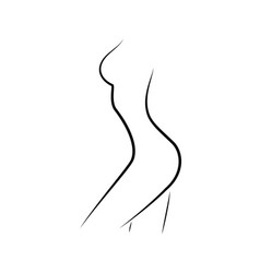 Beautiful woman figure side view outline style vector