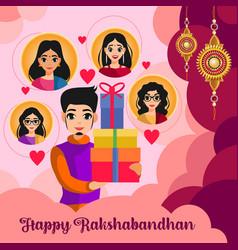 Boy holding gifts in hand for raksha bandhan vector