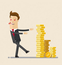 businessman going to a pile of coins business vector image