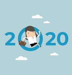 businesswoman jump throw zero in number 2020 vector image