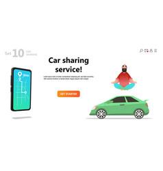 car sharing service yoga calm man and car vector image